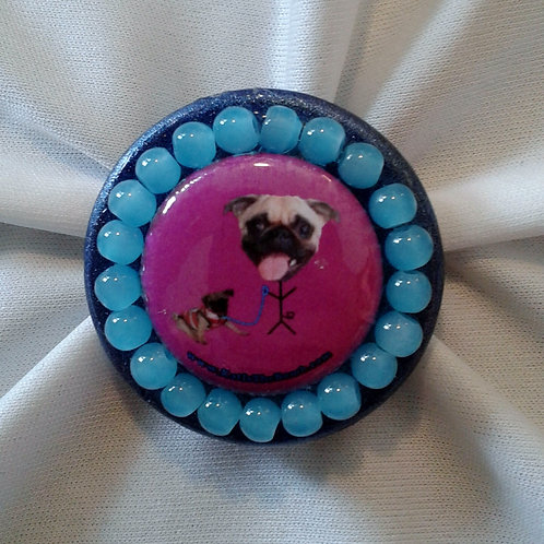 Pug Ring with Light Blue Beads