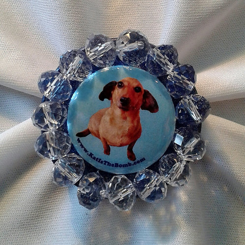 Wiener Dog Ring w/ Clear Faceted Beads