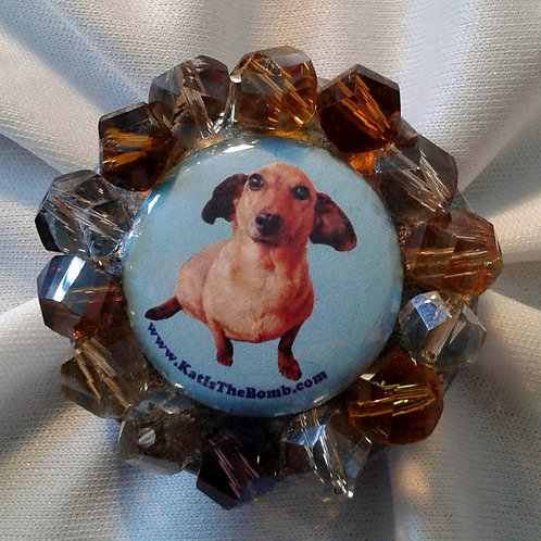 Wiener Dog Ring with Multi Colored Faceted Beads