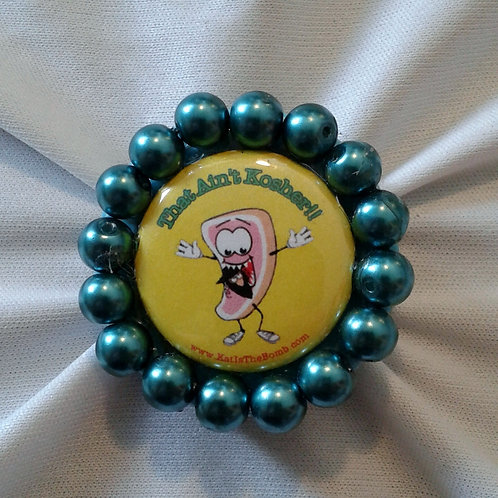 Porkchop Ring with Teal Pearls