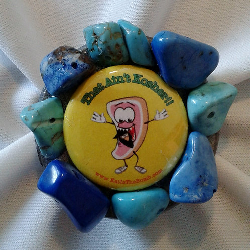 Porkchop Ring with Blue and Turquoise Stones
