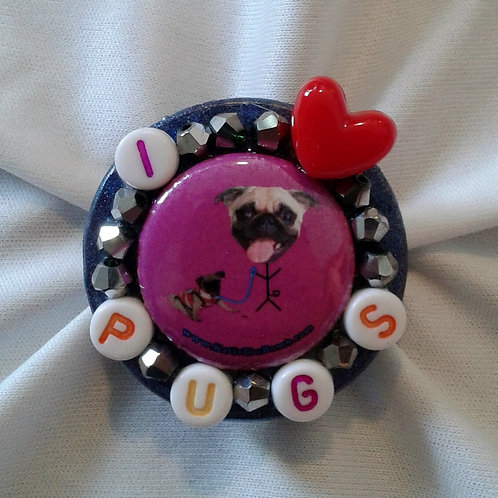I <3 Pug Ring with Gunmetal Faceted Beads
