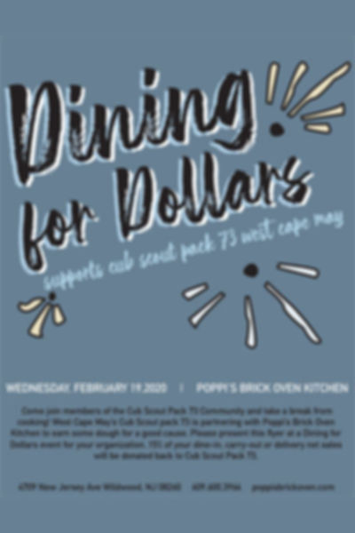 Dining for Dollars - Cub Scout Pack Seventy three
