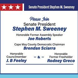 Please Join Senate President Stephen M. Sweeney