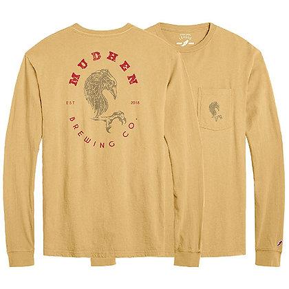 MudHen long sleeve pocket tee - gold