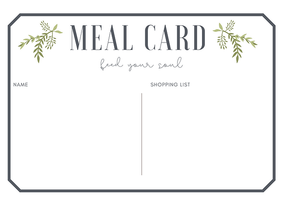 Blank Meal Plan Cards