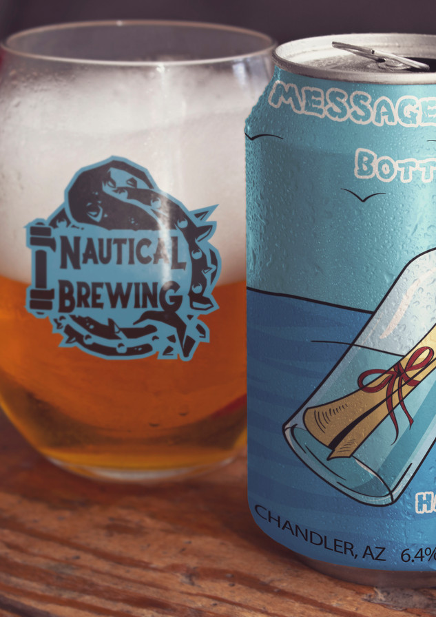 Nautical Message in a bottle Can design.