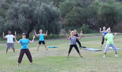 qi gong on lawn