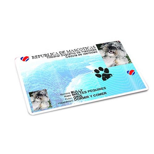 Cédula para mascotas de 8.5 x 5.5 cm