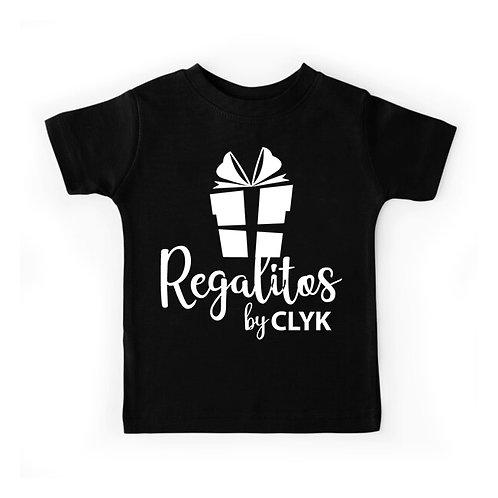 Camiseta color cuello redondo con vinil textil de algodón, para niños