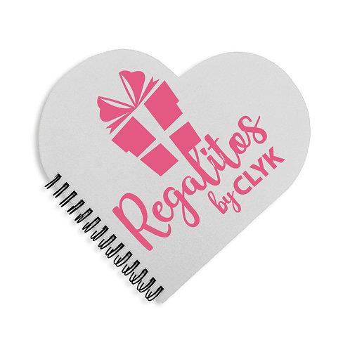 Cuaderno corazón de 60 hojas tamaño 18 x 17 cm con tapas PERSONALIZADAS