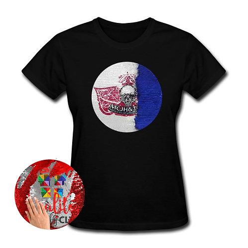Camiseta color con parche circular mágico PERSONALIZADO sublimado, para mujer
