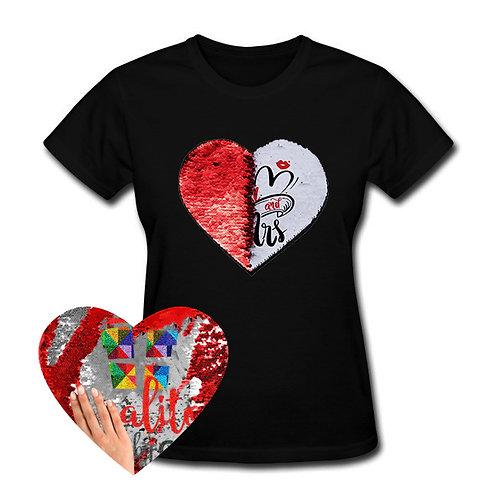 Camiseta color con parche corazón mágico PERSONALIZADO sublimado, para mujer