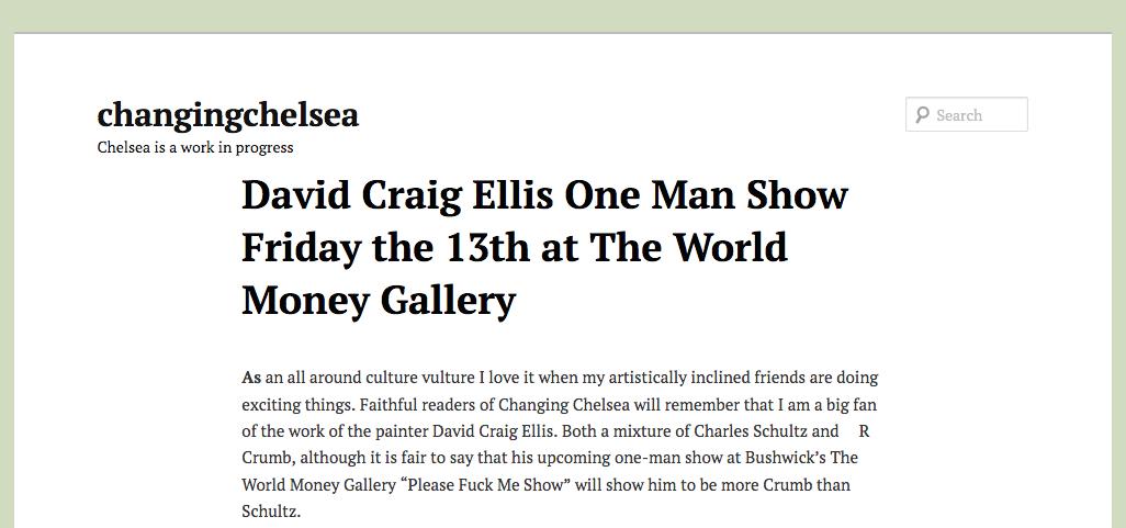 Changing Chelsea - David Craig Ellis One Man Show