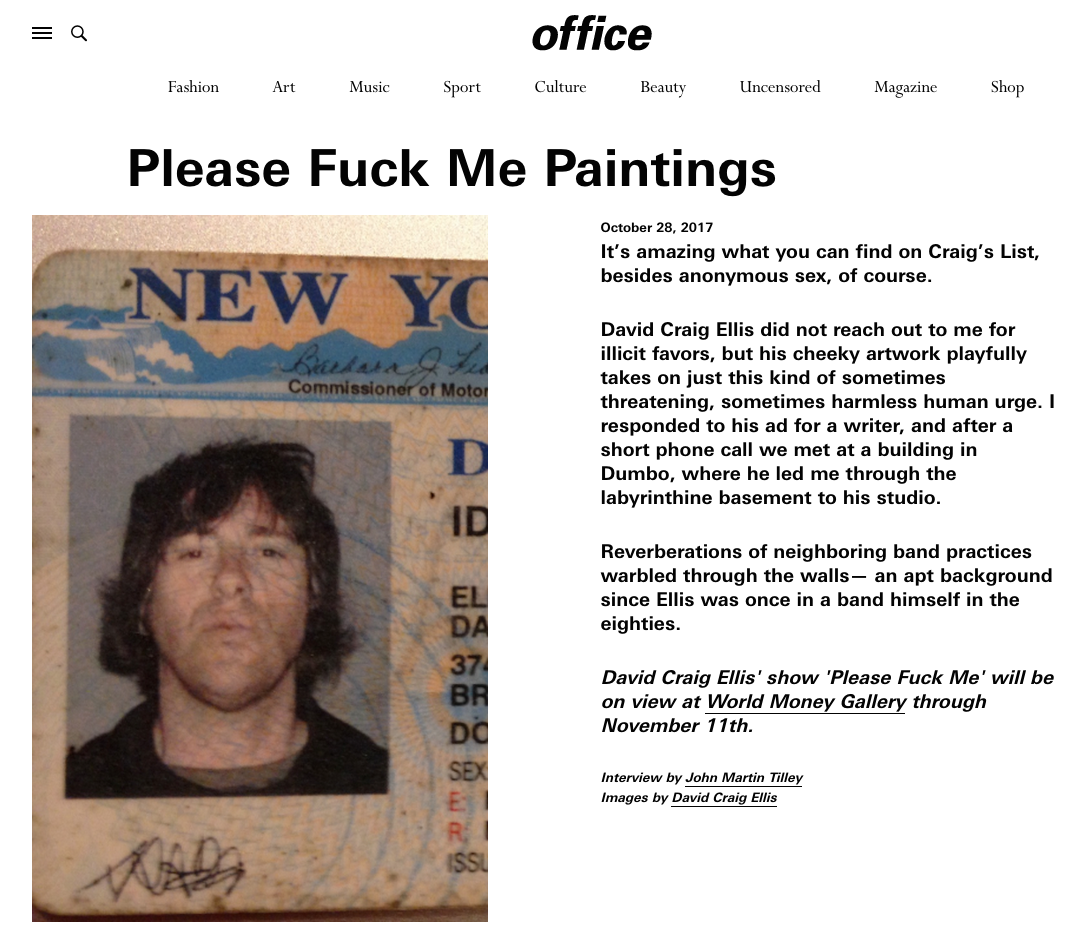 Office Magazine - Please Fuck Me Paintings