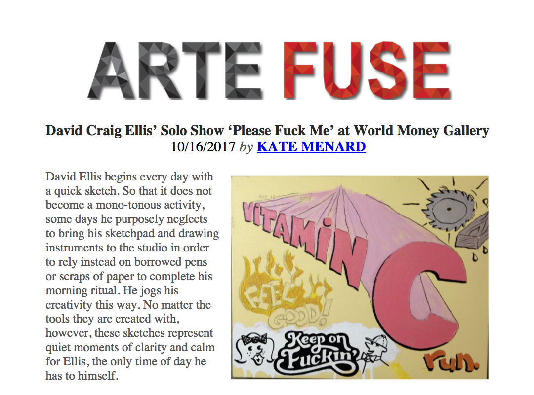 "Arte Fuse - David Craig Ellis' Solo Show ""Please Fuck Me"" At World Money Gallery"