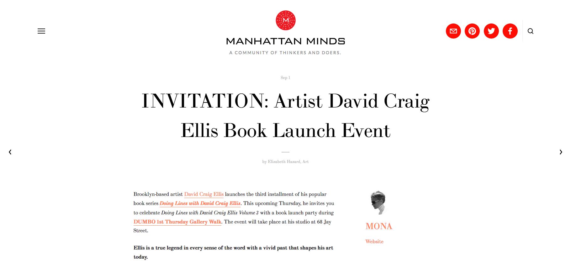 Manhattan Minds - Invitation: David Craig Ellis Book Launch Event
