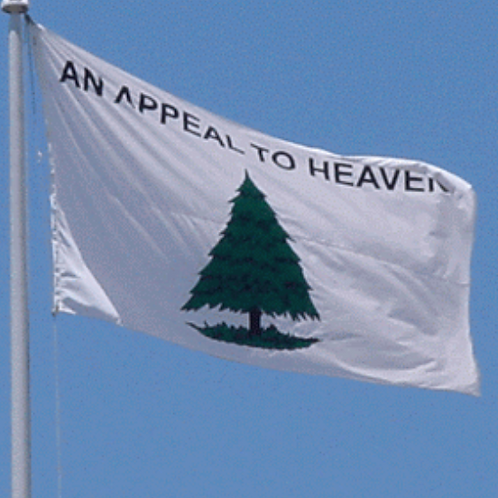 "From the Revolutionary War - Washington's Cruisers Flag - ""An Appeal to Heaven""."