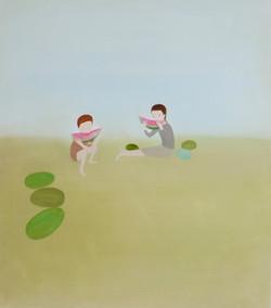 'Children eating watermelons'