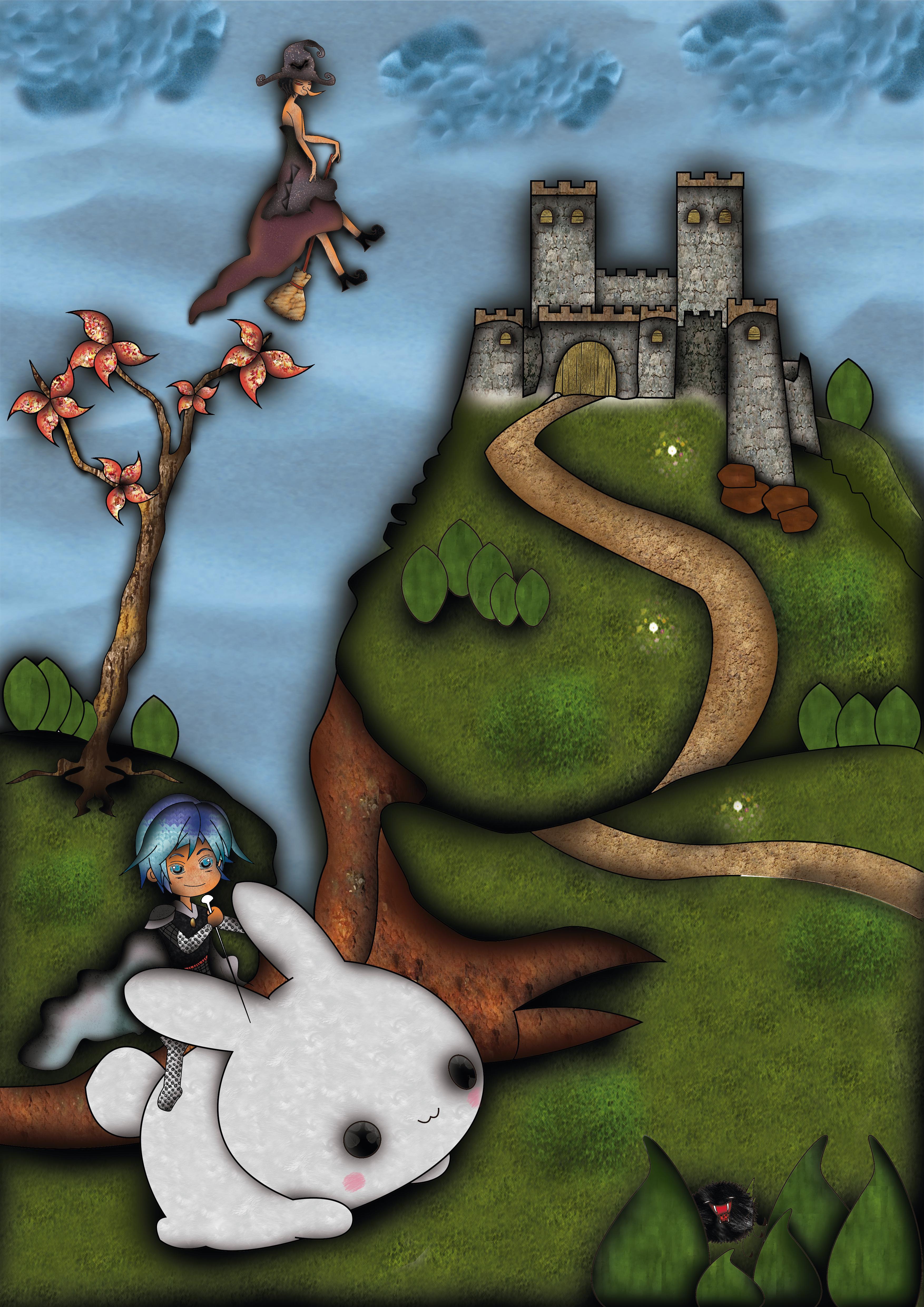 Ilustracion bruja y castillo