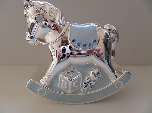 Silver plated blue Rocking Horse Money Bank