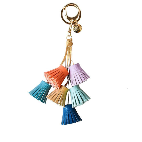 Multi Coloured Tassels Keyring - Aqua