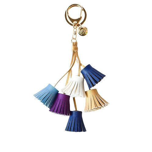 Multi Coloured Tassels Keyring - Blue