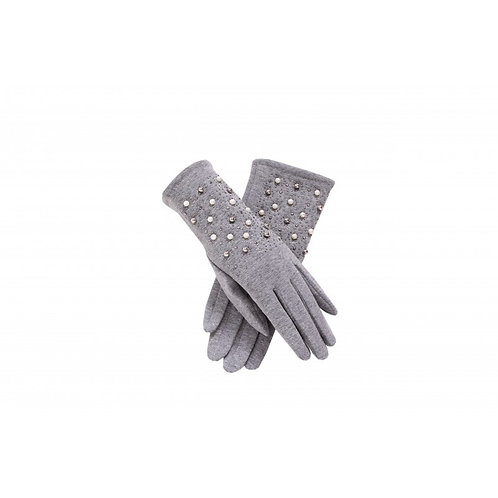 Grey Pearl and Stud Gloves