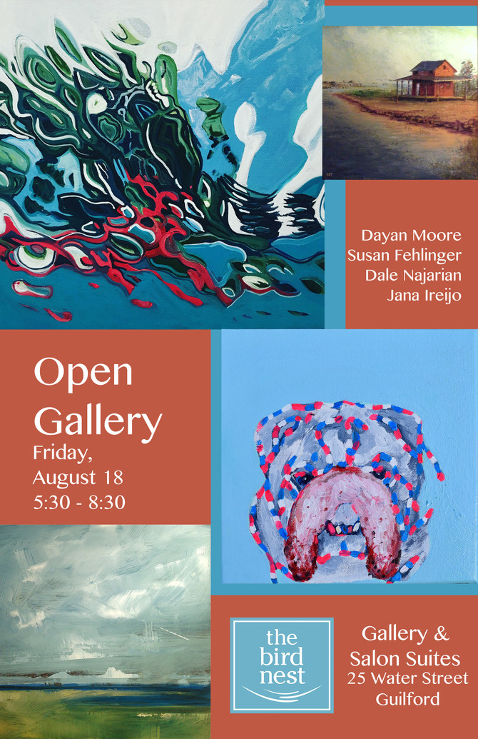 Opening Reception... a party to celebrate local artists!  Friday August 18th at The Bird Nest Galler