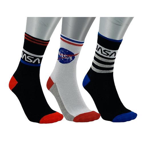 NASA24 - 3 PACK NASA CREW SOCKS - WHITE/BLACK