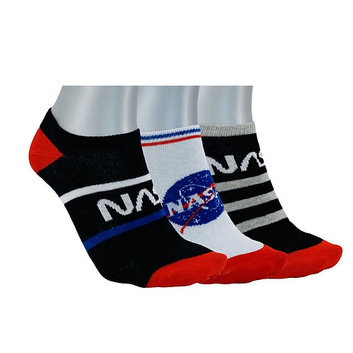 NASA14 - 3 PACK NASA INSIDE NO SHOW SOCKS - WHITE/BLACK