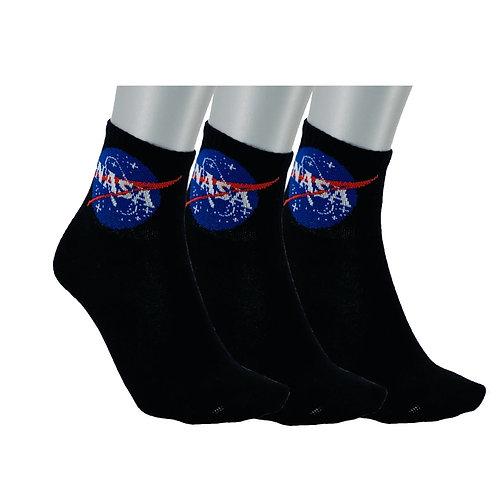 NASA05 - 3 PACK NASA BASIC QUARTER SOCKS - BLACK