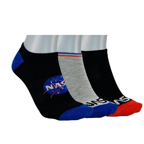NASA13 - 3 PACK NASA INSIDE NO SHOW SOCKS - BLACK/GREY/BLUE