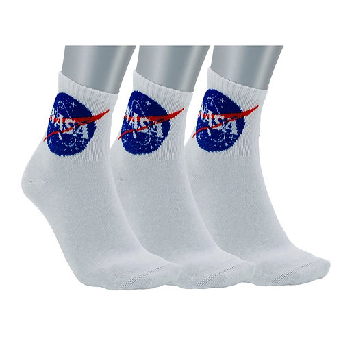 NASA04 - 3 PACK NASA BASIC QUARTER SOCKS - WHITE
