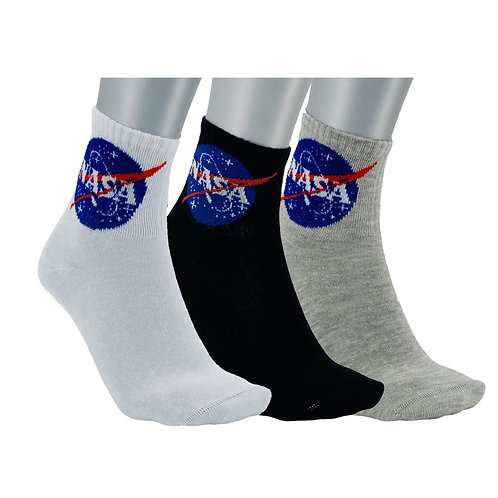 NASA06 - 3 PACK NASA BASIC QUARTER SOCKS - MIXED