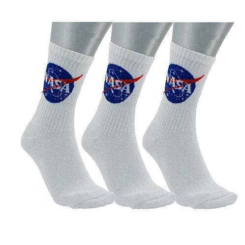NASA07 - 3 PACK NASA BASIC CREW SOCKS - WHITE