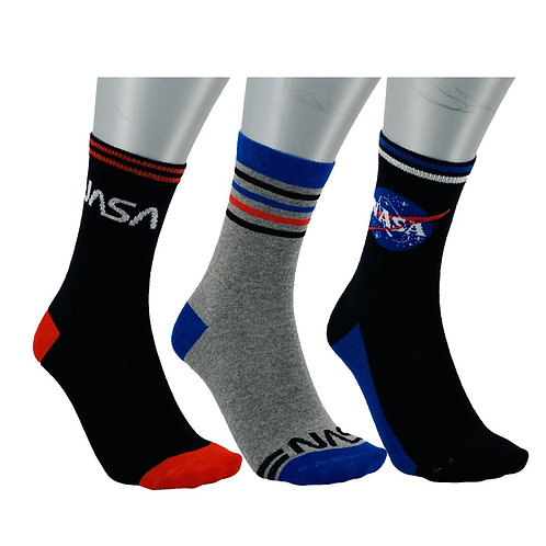 NASA23 - 3 PACK NASA CREW SOCKS - BLACK/GREY/BLUE