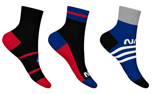 NASA16 - 3 PACK NASA QUARTER SOCKS - BLACK/BLUE