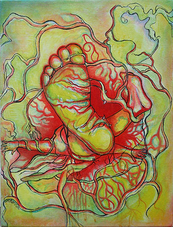 Feet, Falling, tangled, love, oil painting