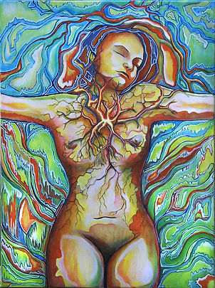 Veins, nude, oil painting, growth, enlightenment