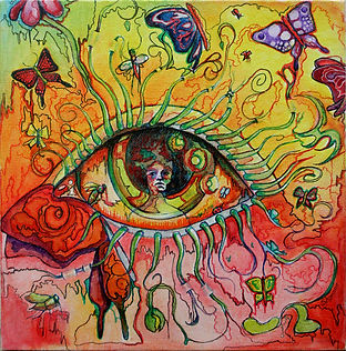 Eye, oil painting, butterflies, botanical