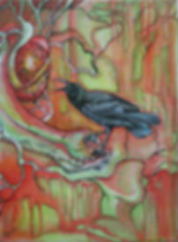 OIl Painting, crow, heart, hands, greeting