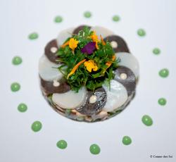 Rosace de coquilles Saint-Jacques, méli-mélo de légumes croquants au parfum du Vaucluse - Lionel Rig