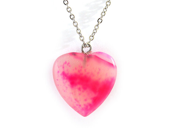 Pink Agate Heart Pendant