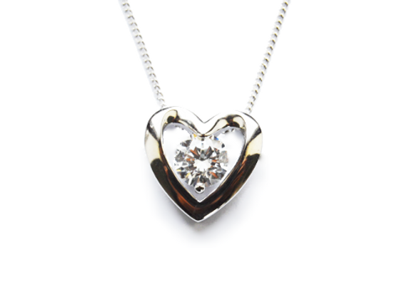 Platinum Plated Silver Heart Necklace