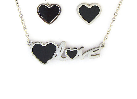 Love Earrings and Necklace Set