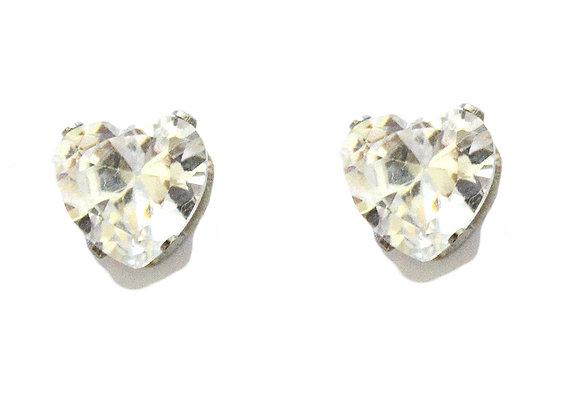 White Heart Crystal Earrings