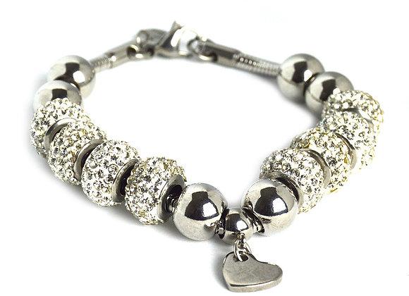Crystal Studded Bead Bracelet with Heart Charm