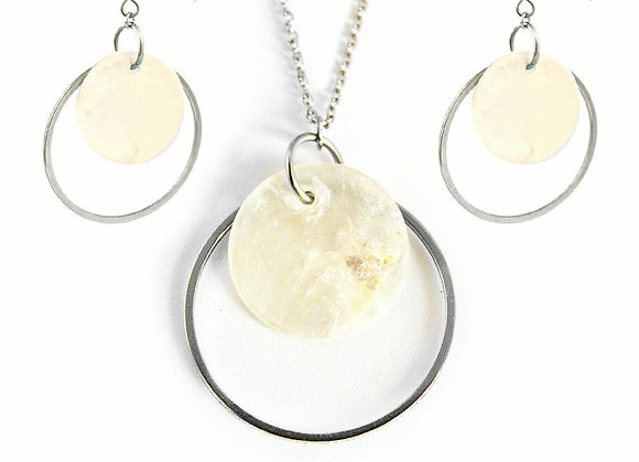 Natural Shell Earrings and Pendant Set