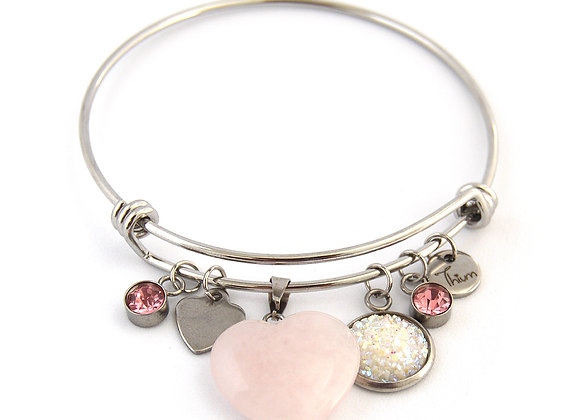 Pink Quartz Heart Bangle